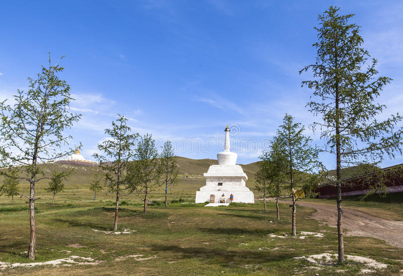 The stupa of monastery in Mongolia. Buddhism in Mongolia derives much of its recent characteristics from Tibetan Buddhism of the Gelug and Kagyu lineages stock photos