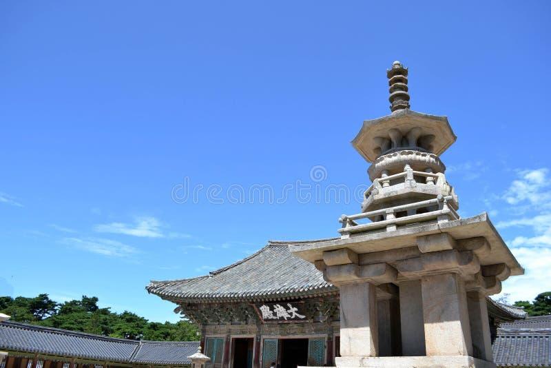 The stupa monument of Korean temple around Bulgoksa. Pic was taken in August 2017. Translation: 'Korean Buddhist Temple'. stock images