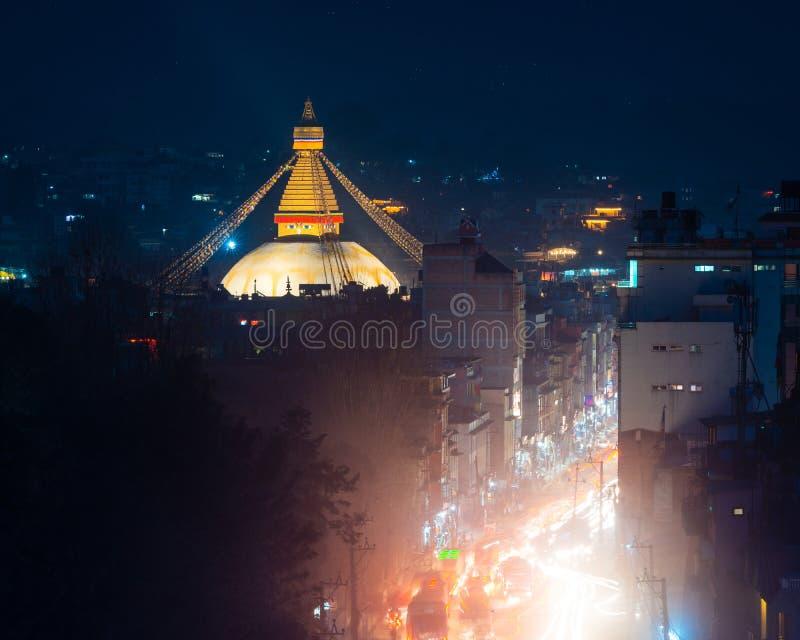 Stupa na noite, Nepal de Boudhanath imagem de stock