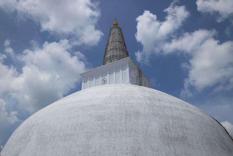 Stupa of Ruwanwelisaya under construction, Anuradhapura, Sri Lan. Wihite stupa detail Anuradhapura, Sri Lanka royalty free stock photos
