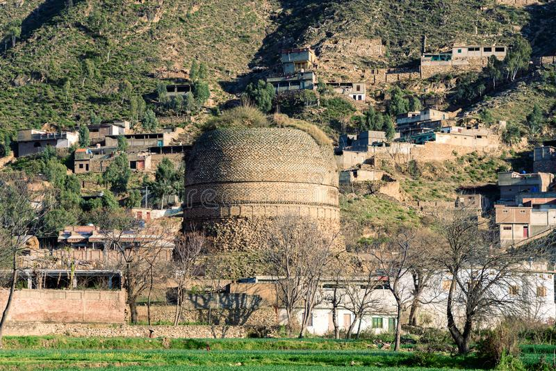 Stupa Swat Pakistan. It is one of the  largest stupa, of the Indian subcontinent, is located in village Shingardar, Swat Pakistan royalty free stock photo