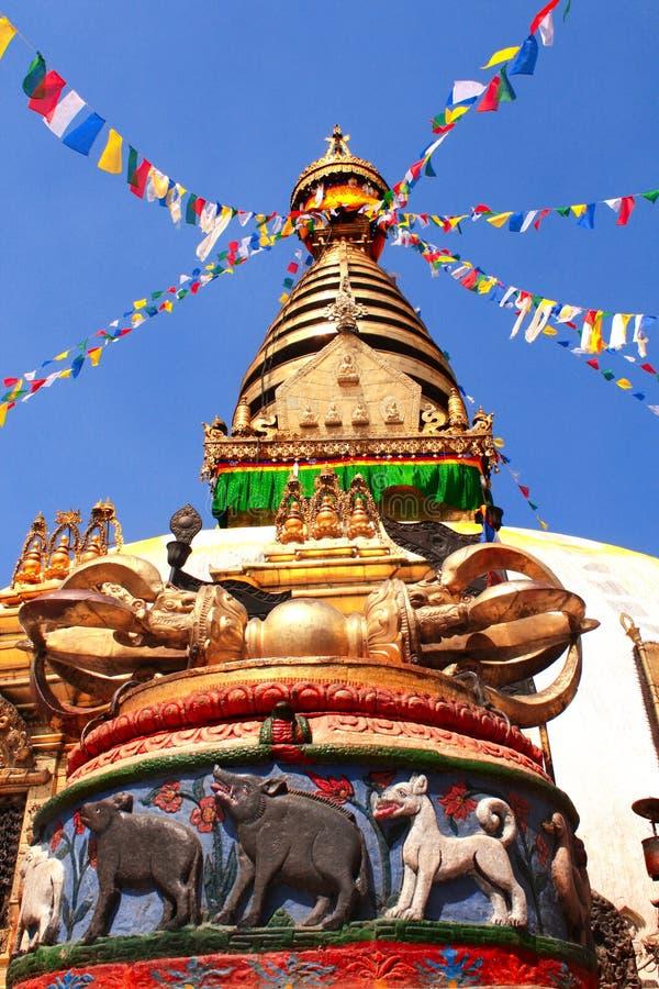 Stupa Swayambhunath,加德满都,尼泊尔 免版税库存照片