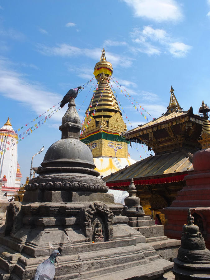 The Stupa of Swayambunath, Nepal. Swayambhunath is among the oldest religious sites in Nepal. According to ancient scriptures Swayambhunath was founded in the royalty free stock photo