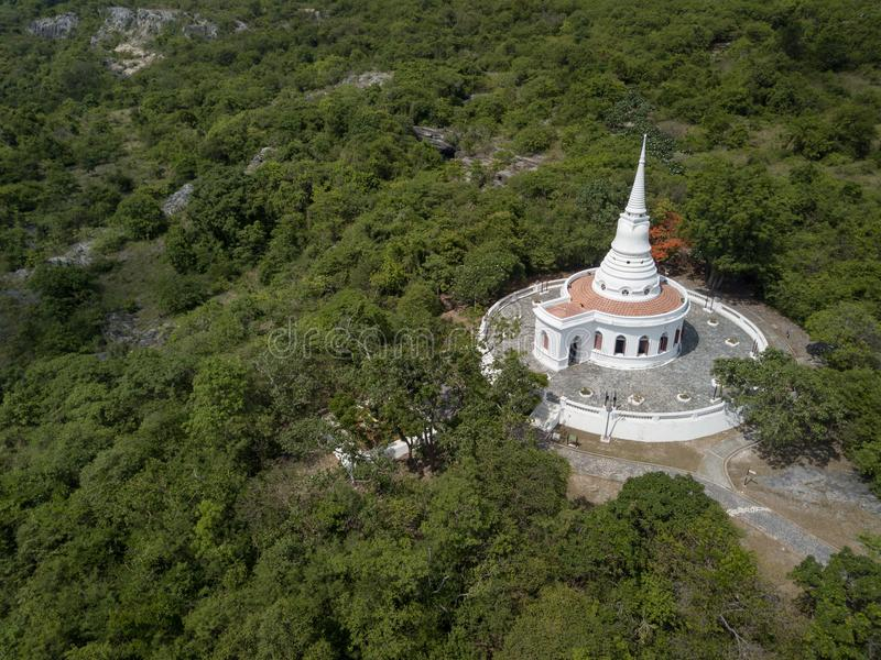 Stupa and Temple Hall, Asadang Nimit Temple, Ko Sichang, Chonburi, Thailand royalty free stock image