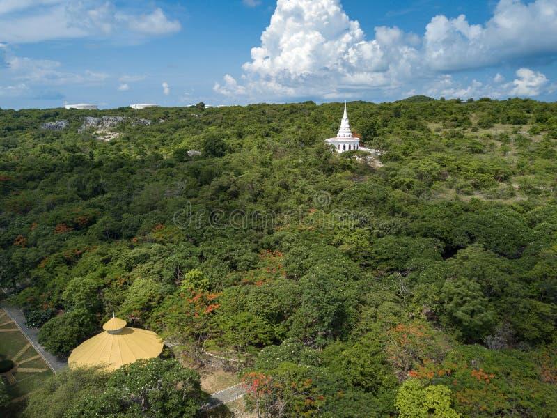 Stupa and Temple Hall, Asadang Nimit Temple, Ko Sichang, Chonburi, Thailand royalty free stock photography