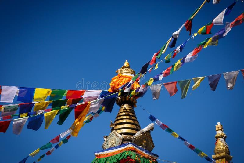 Stupa with tibetan prayer flags Namo Buddha, Nepal stock photography