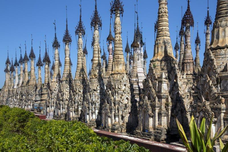Stupa van Kakku-Tempel - Shan State - Myanmar royalty-vrije stock afbeelding