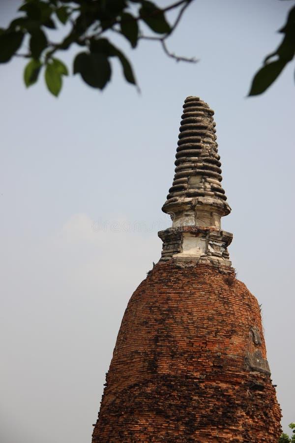 Stupa velho com folhas e Gray Sky fotos de stock