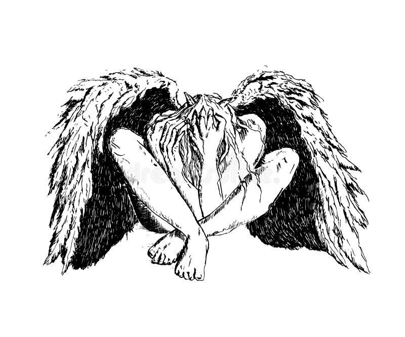 Stupad ängel med svarta vingar som sitter på golvet Mörk fantasi för mystiker vektor illustrationer