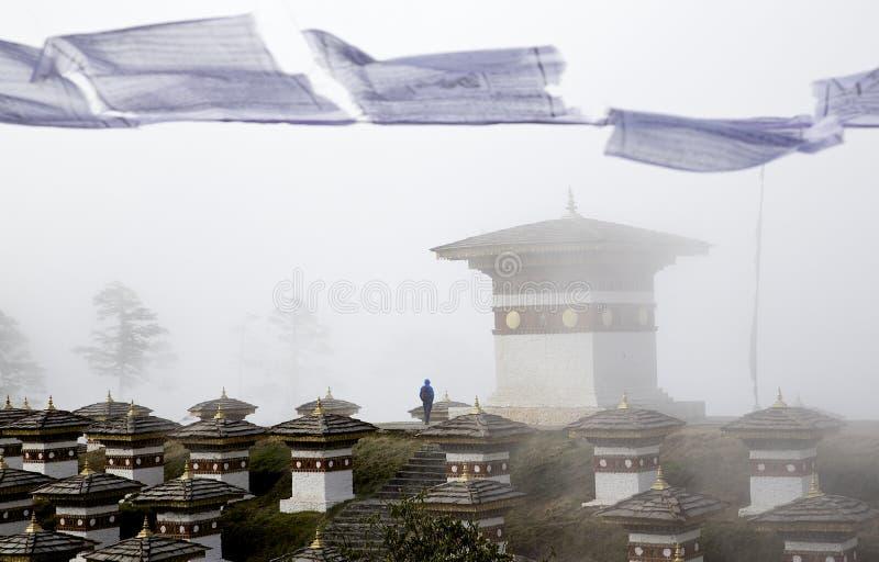 108 Stupas al Bhutan fotografia stock libera da diritti