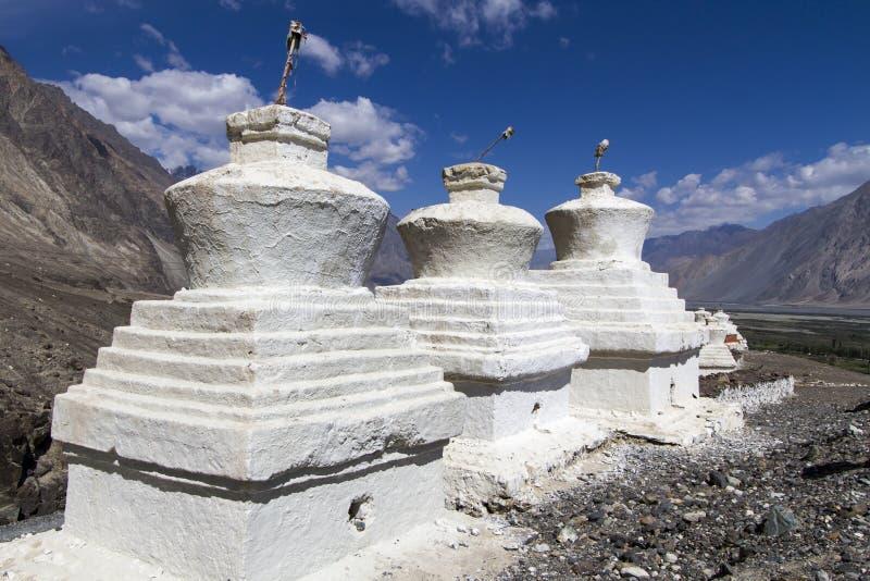 Stupas blancs historiques (Gompas) dans Ladakh, Inde photo libre de droits