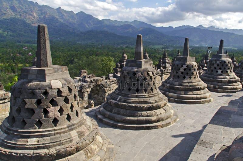 Stupas in Borobudur. Buddhist stupas in Borobudur Park royalty free stock photos