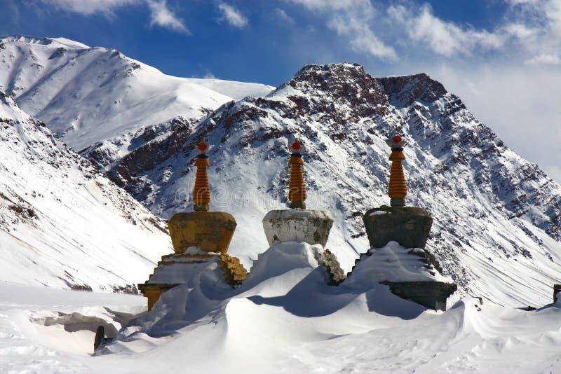 Stupas del árbol en el invierno Himalaya foto de archivo