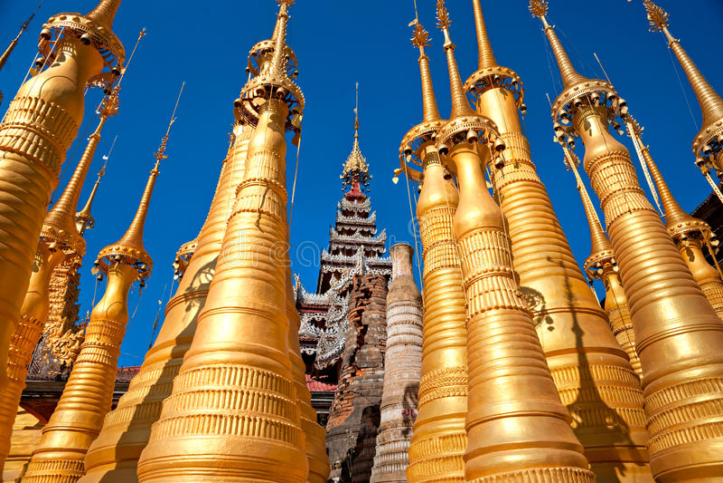 Stupas, Inle Lake, Myanmar. stock images