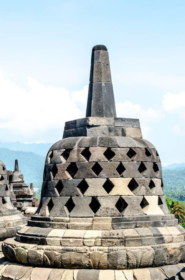 Stupas no templo de Borobudur, Java central, fotografia de stock