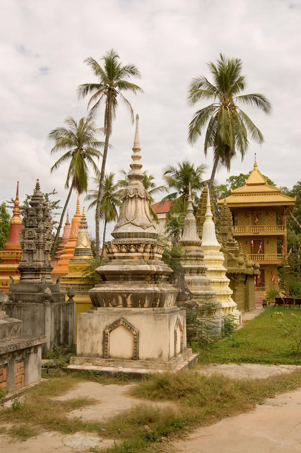 Stupas And Palm Trees, Siem Reap, Cambodia Stock Photos