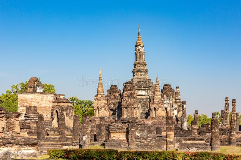 Stupas and Prang towers in Wat Mahathat in the Historical Park of Sukhothai, Thailand, Asia royalty free stock photography