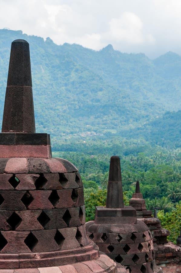 Stupas sur Borobudur photographie stock