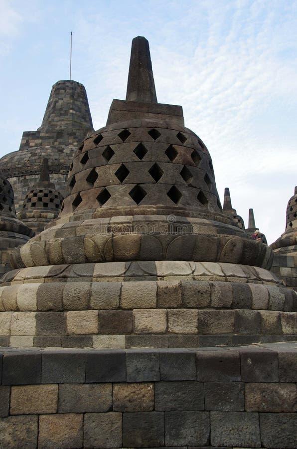 Stupas in He tempio di Borobudur in Indonesia fotografia stock