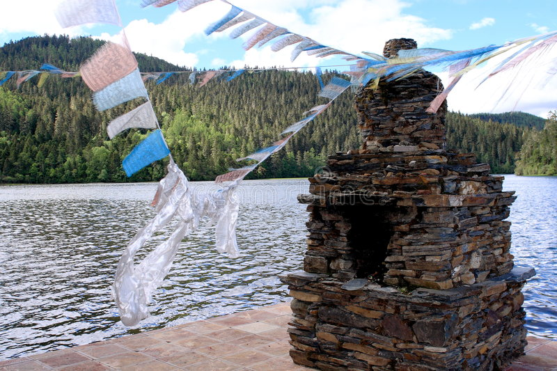 Download Stupas with Tibet flag stock image. Image of blue, clean - 5445237