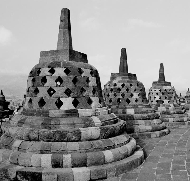 Stupas van Tempel Borobudur. stock foto's