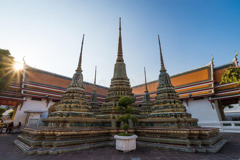 The stupas of Wat Pho in Bangkok, Thailand. stock images