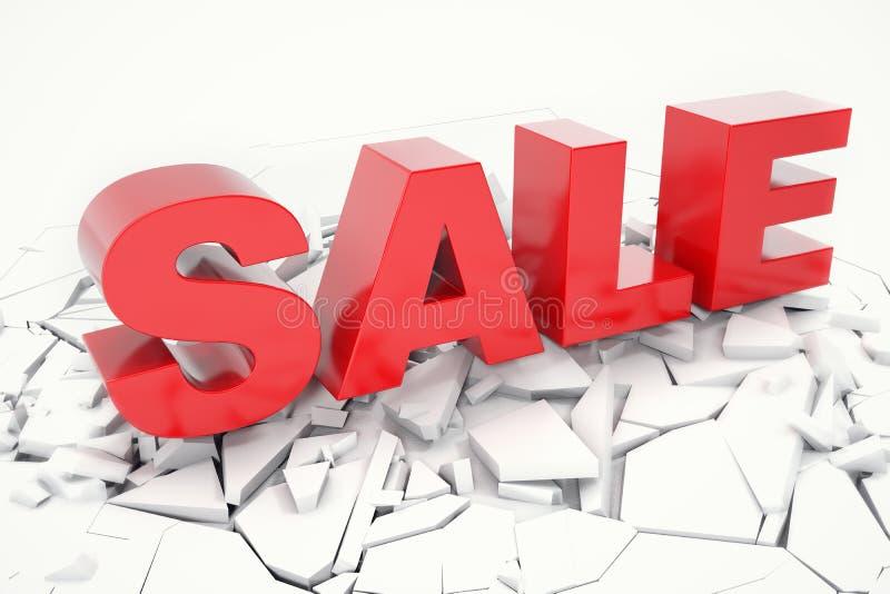 stupat ord för 3D Rednering Sale rött ord för försäljning som 3D isoleras över vit bakgrund med sprickajord stock illustrationer