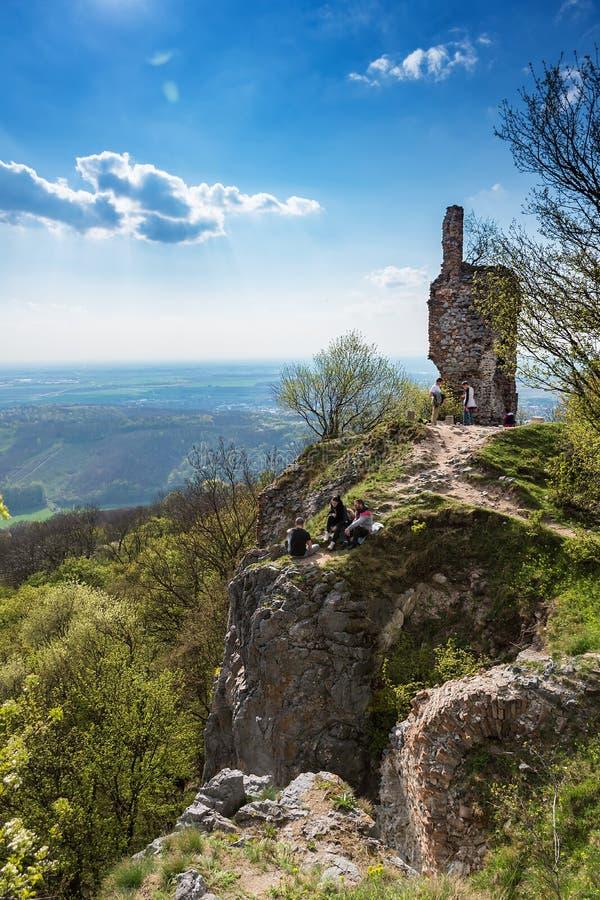 STUPAVA, SLOVAKIA – APRIL 9 2017: people visit ruins of medie. Val castle Pajstun near Bratislava royalty free stock images