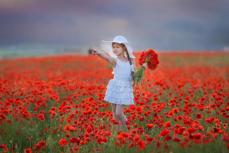 Stupendo vicino sul ritratto di giovane ragazza romantica sveglia adorabile con il fiore del papavero a disposizione che posa sul immagini stock libere da diritti