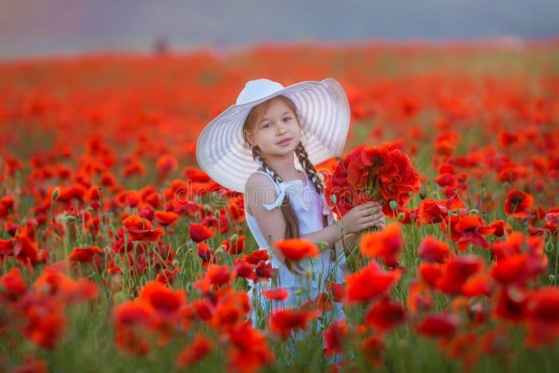 Stupendo vicino sul ritratto di giovane ragazza romantica sveglia adorabile con il fiore del papavero a disposizione che posa sul immagine stock libera da diritti