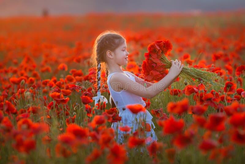 Stupendo vicino sul ritratto di giovane ragazza romantica sveglia adorabile con il fiore del papavero a disposizione che posa sul immagini stock