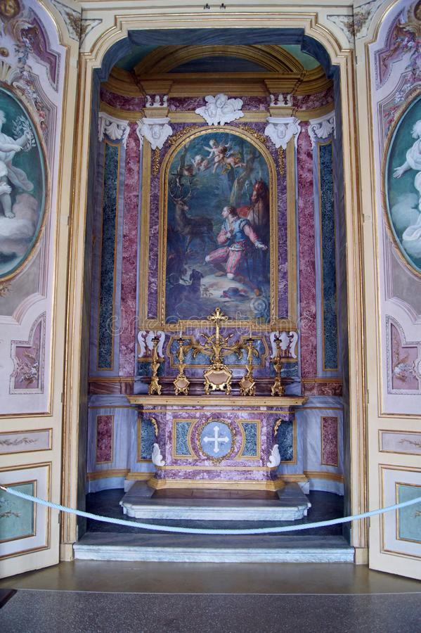 Stupinigi Italien Turin för kunglig slott konungs kapell av St Hubert royaltyfri foto