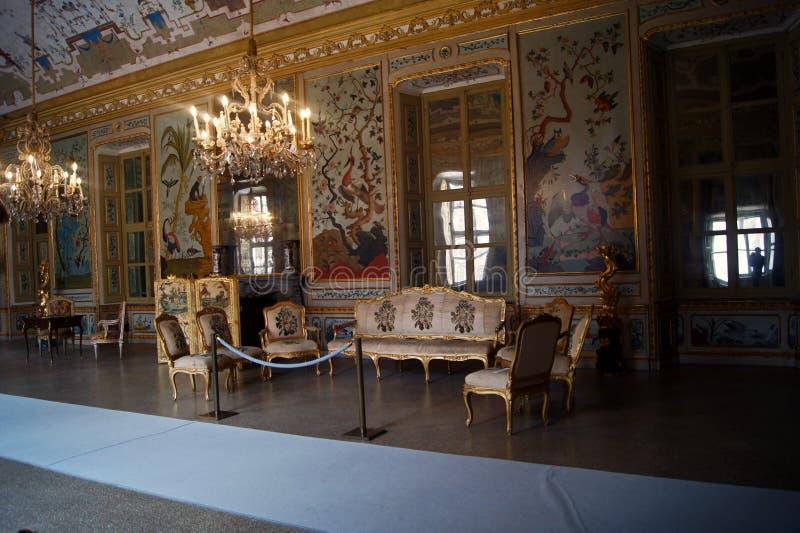 Stupinigi-japan Italien Turin för kunglig slott rum, gamming rum arkivfoton