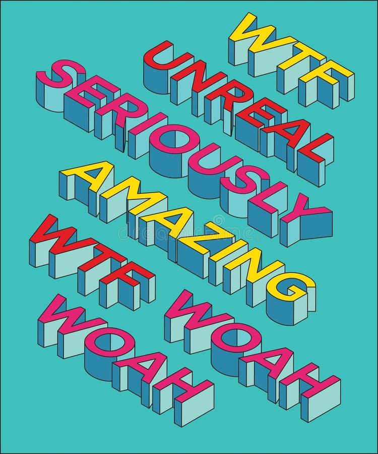 Stupore del `, irreale, wtf, woah, seriamente materiale illustrativo moderno di tipografia di Pop art del `, adatto a sacco di ca royalty illustrazione gratis