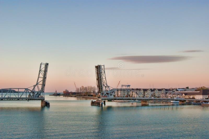 Sturgeon Bay Drawbridge. The drawbridge across Sturgeon Bay in Wisconsin, open, at dusk royalty free stock photo