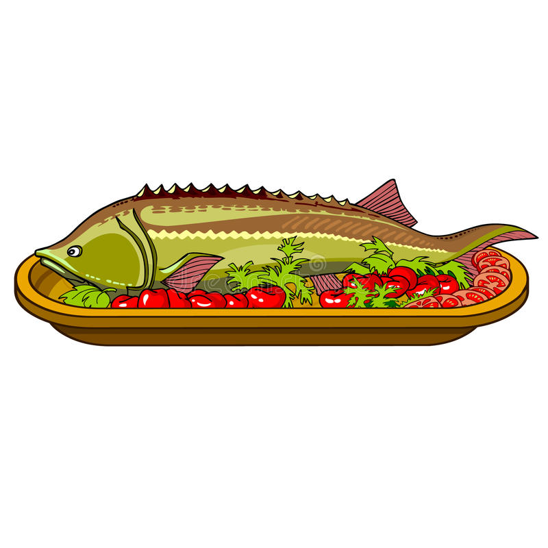 sturgeon fish baked with vegetables on a platter royalty free illustration