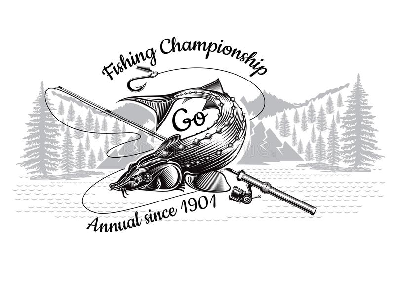 Sturgeon Fish Bend Silhouette With Crossed Fishing Rod With Landscape In Engrving Style Logo For Fishing Championship And Sport Stock Vector Illustration Of Caviar Farm 137714574