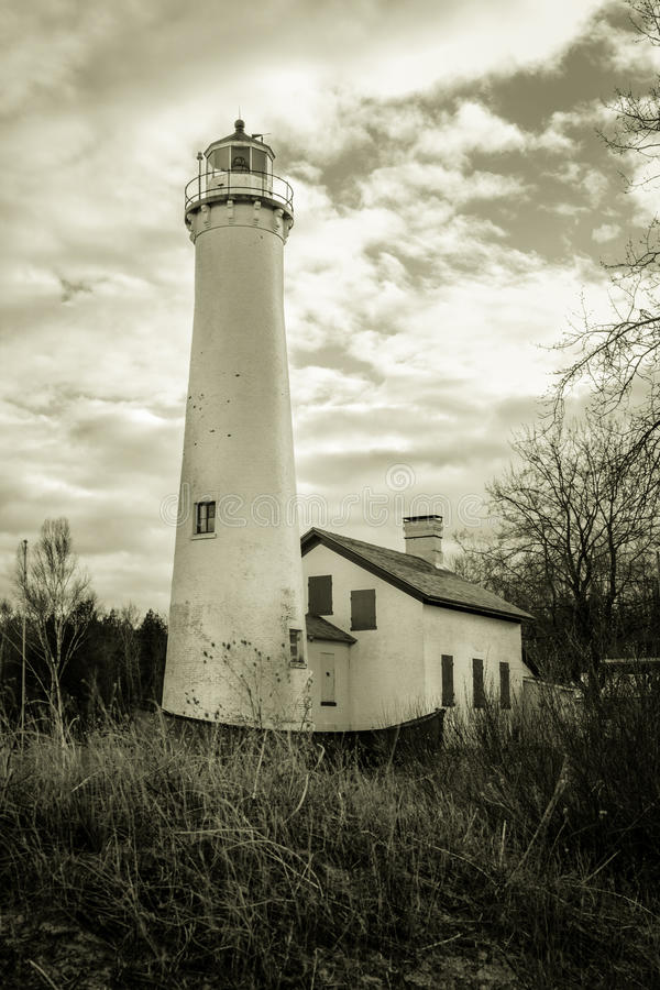 Sturgeon Point Lighthouse. The Sturgeon Point Lighthouse was built in 1869. Located along the shores of Lake Huron, the lighthouse is currently a state historic royalty free stock image