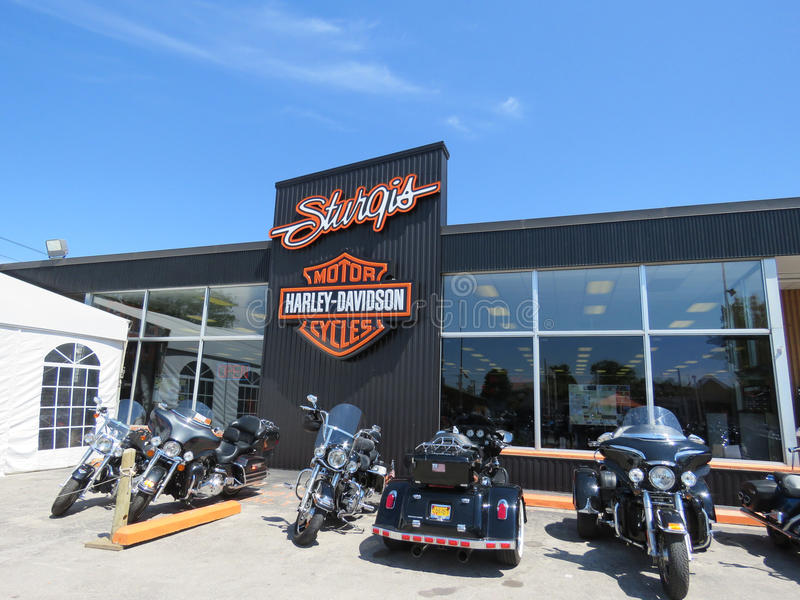 Sturgis Harley-Davidson retail location, Sturgis, SD. Exterior of the Sturgis Harley-Davidson location offering t-shirts, apparel, jackets, accessories and stock photos