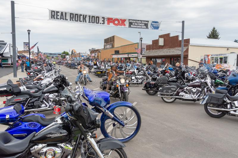 Sturgis, South Dakota motorcycle rally. SUNDAY, AUGUST 5, 2018, STURGIS, SOUTH DAKOTA: Thousands of motorcycles and their riders line downtown Main Street in royalty free stock photos