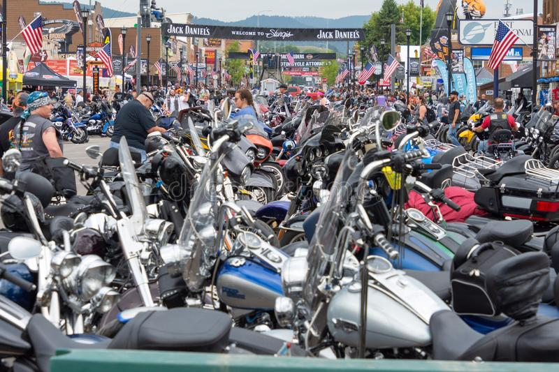 Sturgis, South Dakota motorcycle rally. SUNDAY, AUGUST 5, 2018, STURGIS, SOUTH DAKOTA: Thousands of motorcycles line downtown Main Street in Sturgis, South royalty free stock image