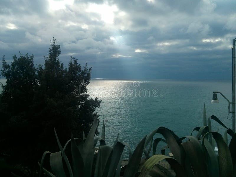 Sturla. Vista del panorama di Sturla. Il mare di Genova stock photography