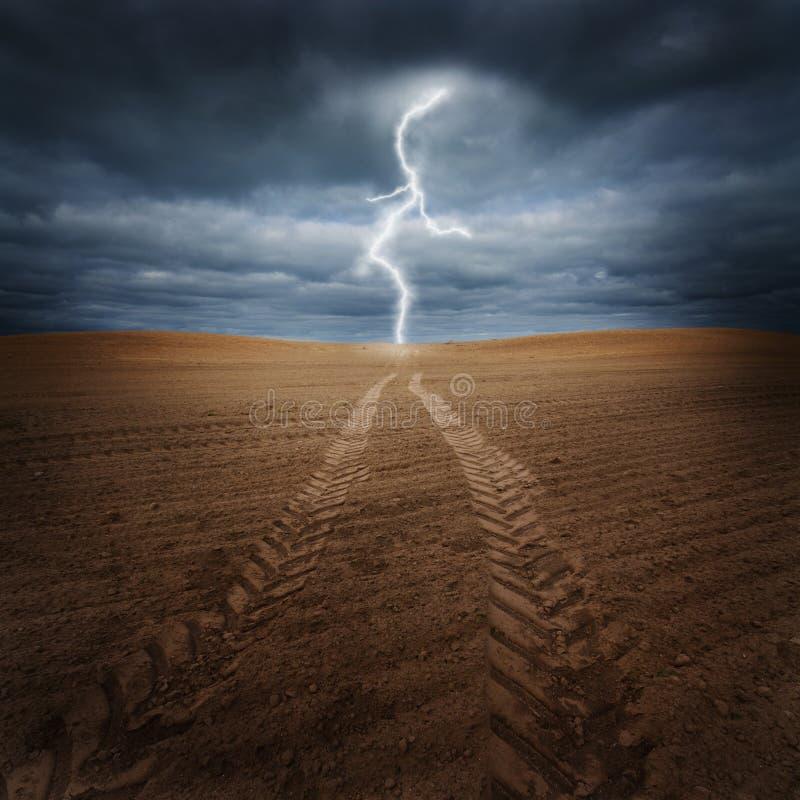 Sturm auf dem Feld stockfoto