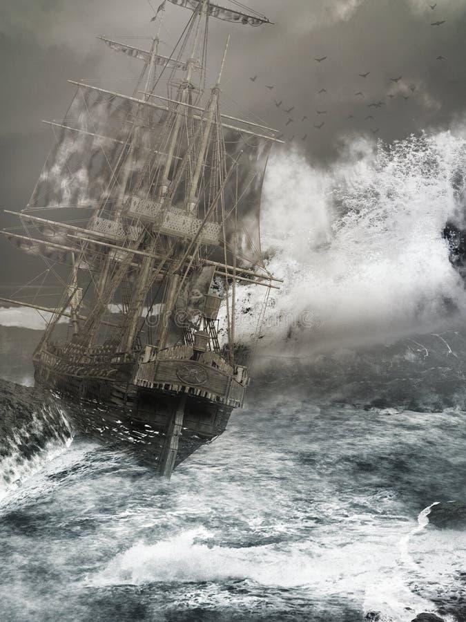 Sturm auf dem Meer vektor abbildung