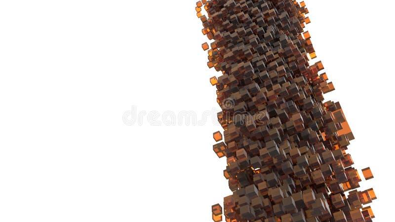 Sturm von den orange W?rfeln, die vom Himmel fallen Zusammenfassung und Konzept 3D Isometrisches Geometriethema Kreative Idee f?r lizenzfreie abbildung