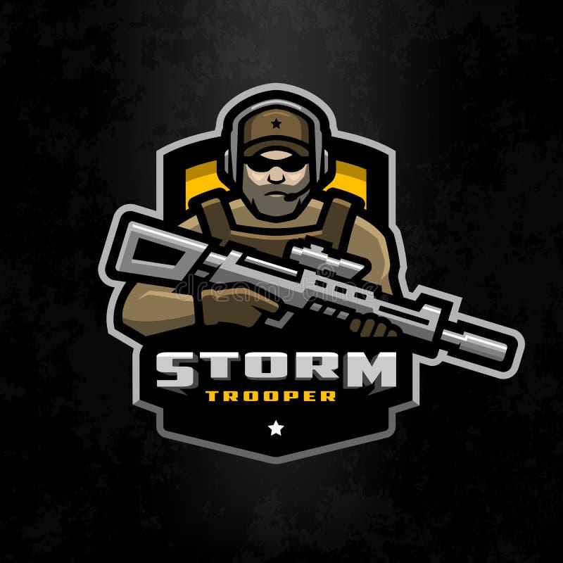 Sturmsoldatmaskottchen, Logo, das auf einem dunklen Hintergrund desing ist vektor abbildung