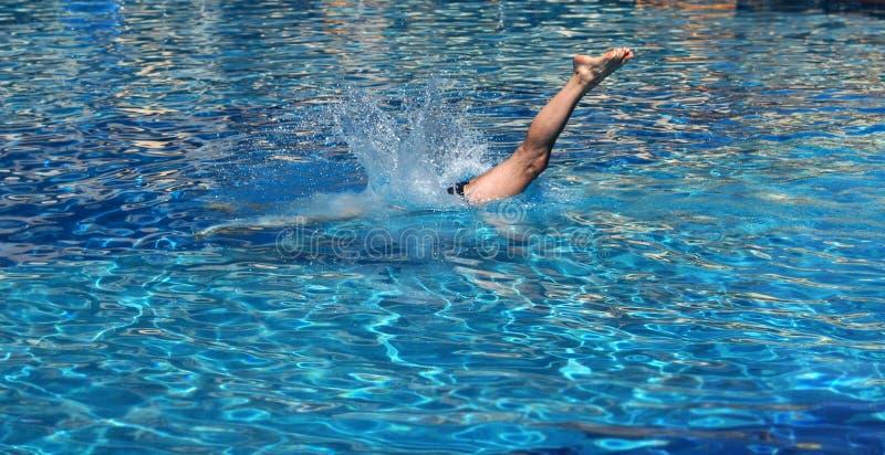 Sturzflug im Pool stockbilder