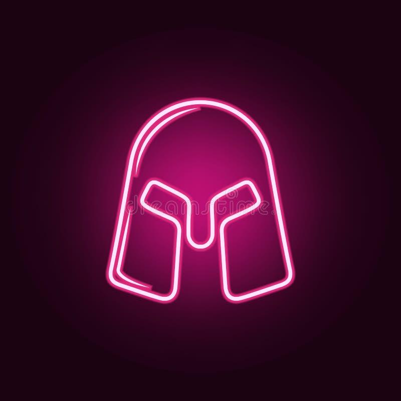 Sturzhelmikone des Kriegers Elemente des Kampfes in den Neonartikonen Einfache Ikone für Website, Webdesign, mobiler App, Informa lizenzfreie abbildung