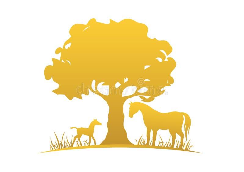 Stute, Fohlen und Baum lizenzfreie abbildung