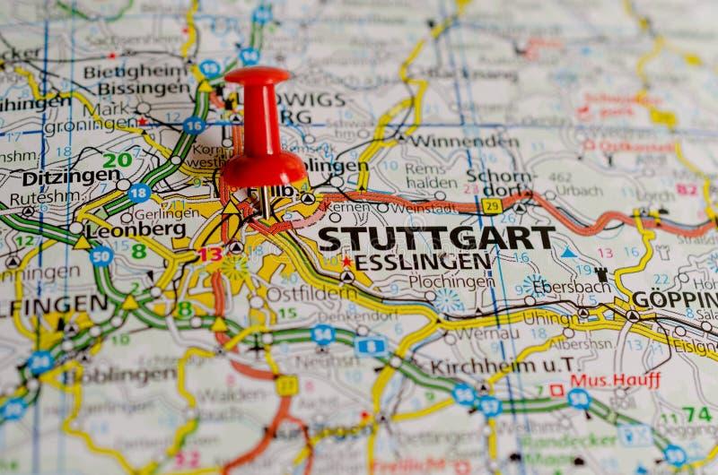 Stuttgart auf Karte stockfotografie